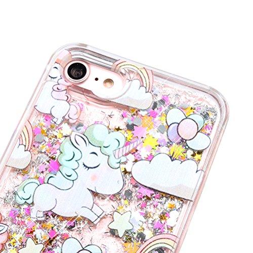 """iPhone 7 Case (4.7""""),iPhone 7 Glitzer Flüssig Hülle,Edaroo Cute Lovely Cartoon Baby Einhorn Regenbogen Sterne Muster Kreativ Flüssigkeit Klar Handytasche Glänzend Glitzer Schwimmend Silber Glitter Gol Colorful"""