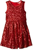 Yumi Girl's Sequin Skater Dress, Red, 13-14 Years (Manufacturer Size:13/14 Years)