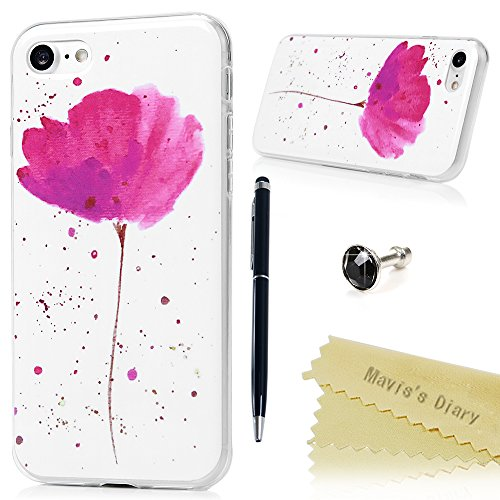 """Mavis's Diary Coque iPhone 7 (4.7"""") TPU Souple Totem Fleur IMD Dessin Housse de Protection Étui Téléphone Portable Phone Case Cover+Stylet+Bouchon Anti-poussière+Chiffon motif 18"""