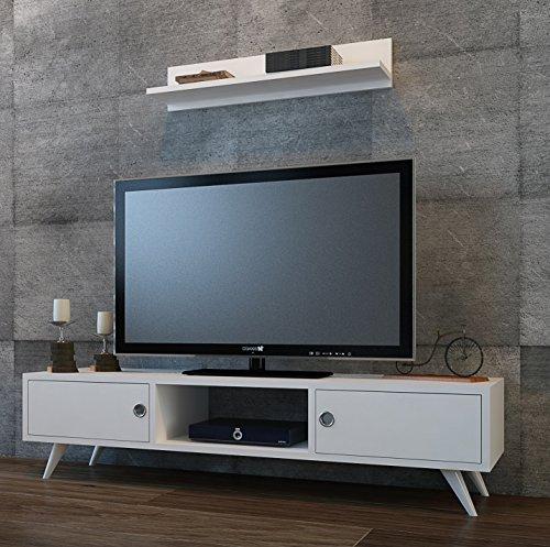 Homidea Aspen Wohnwand – Weiß/Nussbaum – TV Lowboard mit Wandregal in modernem Design