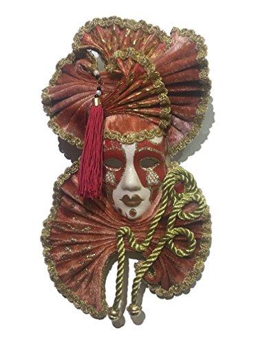 e Maske von Venedig–2Fäustling Rot–27x 15cm (Maske Schöpfer)