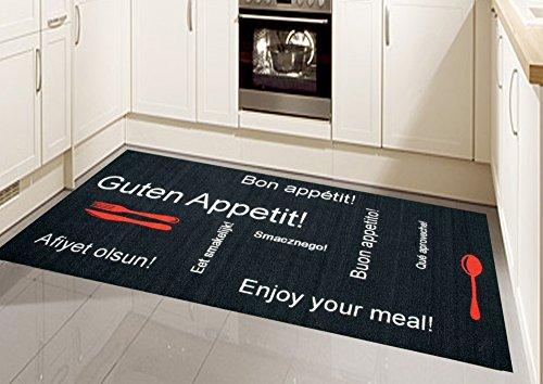 Küchenläufer Küchenteppich Gelläufer Waschbar Schwarz Rot Weiss mit Schriftzug Guten Appetit Größe 80 x 300 cm
