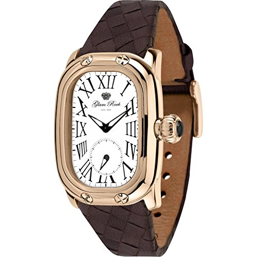 Glam Rock Women's Monogramme Brown Leather Band Rose Gold Plated Case Swiss Quartz Analog Watch GR72309N