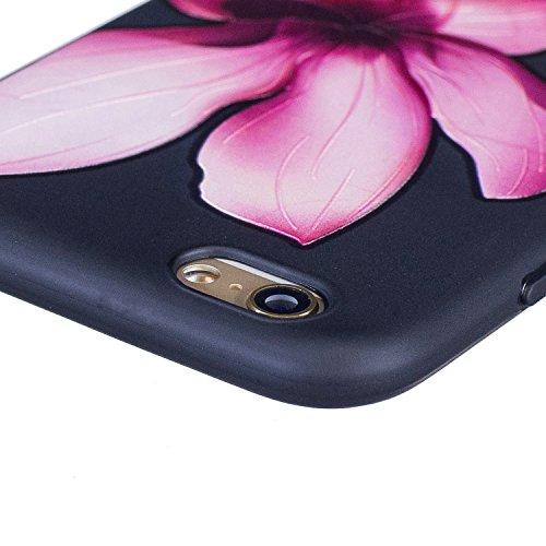 Cozy Hut Handy-Hülle für Apple iPhone 6S / 6 (4,7 Zoll) weiß / Rein schwarz | Ultra Slim Cover für Apple iPhone 6S / 6 (4,7 Zoll) Schutz Hülle TPU Case Schutzhülle Silikon Smartphone Case Tasche Dünn  Lotus