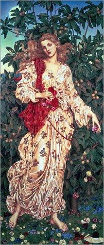 Leinwandbild 40 x 100 cm: Flora, 1894 von Evelyn De Morgan / Bridgeman Images - fertiges Wandbild, Bild auf Keilrahmen, Fertigbild auf echter Leinwand, Leinwanddruck