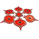 Handmade Designer Transparent Red Rangoli - With Paan Shaped Design Decorated With Silver Stones And Green Beads On Red Curved Star Shaped Plastic Base - 7 Pieces Set - Packed In Plastic Box