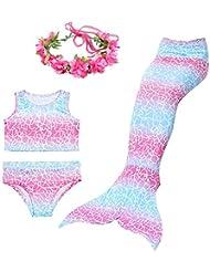 Superstar Christmas 4PCS Girls Mermaid Tail Swimsuit Princess Bikini Swimwear With Garland