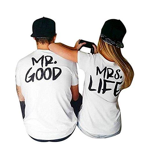 *Outgobuy Liebhaber Damen MRS LIFE Und Liebhaber Männer MR GUT Letter Print Paar T-Shirt (M, Schwarz-1)*