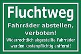 Melis Folienwerkstatt Schild - Flucht-weg - Fahr-räder abstellen verboten - 15x10cm mit Bohrlöchern | stabile 3mm starke Aluminiumverbundplatte – S00050-014-G +++ in 20 Varianten erhältlich