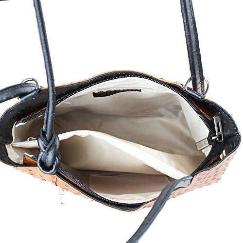 Borsa a Spalla da Donna Stampa Struzzo in Vera Pelle Made in Italy Chicca Borse 28x30x9 Cm Cuoio - Nero