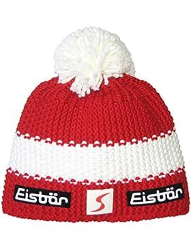 Eisbär Star SP - Gorro con pompón, otoño/invierno, unisex, color Rot/White/Rot, tamaño Talla única