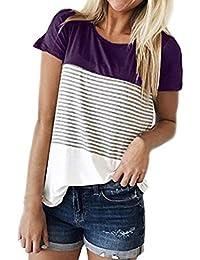 b2de1bab8f70 OVERDOSE Damen Tops Frauen Kurzarm Dreifach Farbe Block Streifen T-Shirt  Casual Bluse Oberteile