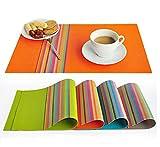 Platzsets für küche Speisetisch Platzsets PVC Hitzebeständig Tischsets und Waschbare Platz-Matten ( 30x45cm ) D-20015 (Orange)
