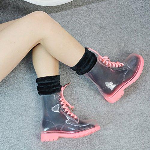 LvRao Damen Hohe Stiefeletten Stiefel Winter Warm Schnee Regen Gummistiefel Schnürung Boots Rosa mit Socken