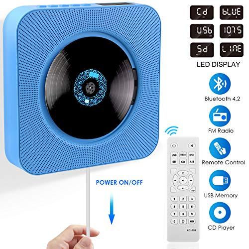 CD Player, FOCHEA Bluetooth Tragbarer CD Player Wandmontierbar CD Radio Musik Player eingebaute HiFi-Lautsprecher mit Fernbedienung, FM-Radio, MP3, 3.5mm Kopfhörerbuchse für Kinder Erwachsener