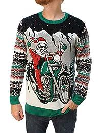1276b26e5e651 Ugly Christmas Sweater Men s Big and Tall Santa Motorcycle LED Light Up  Sweatshirt Black