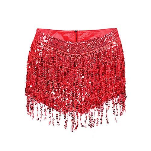 DKXLW Frauen Shorts,Rote Quaste Fringe Pailletten Frauen Sommer Style Kurze Pailletten Bauchtänzerin Kostüm Quaste Geschenke Reißverschluss Shorts Women, - Womans Bauchtänzerin Kostüm