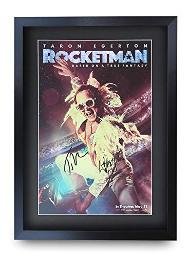 HWC Trading Rocket Man A3 Gerahmte Signiert Gedruckt Autogramme Bild Druck-Fotoanzeige Geschenk Für Taron Egerton Elton John Filmfans -