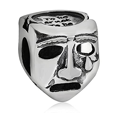 Soulbead Charm masque de tragédie / comédie en argent sterling 925véritable pour bracelets européens
