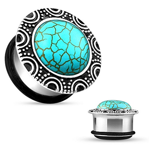 Piercing plug turquoise avec o rings en acier chirurgical 316L turquoise Taille 12 mm