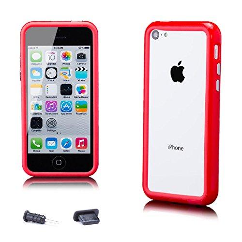 Apple iPhone 5C | iCues Pare-chocs avec des boutons en aluminium Violet | [protecteur d'écran, y compris] cas Frame cas de couverture Coque Housse Sac Étui Case Cover rouge