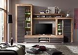 Mueble de salón modular MALLORCA de 296 cm.con vitrinas y mueble tv.