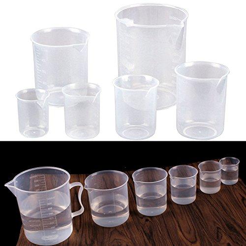 Fashionbabies Vasos Graduados 6 pcs plástico PP Taza de Medición Transparente de Cocina y Laboratorio 50ml 100ml 150ml 300ml 500ml 1000ml