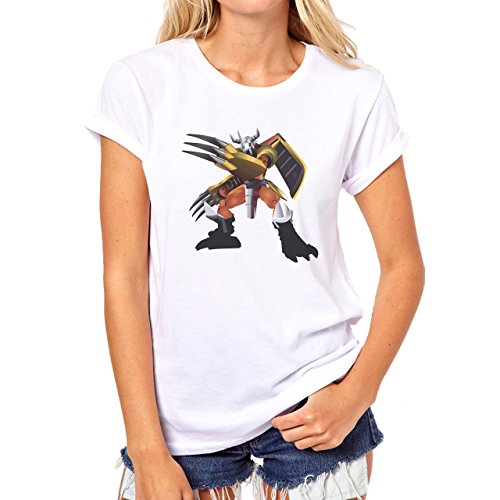 Digimon Agumon Greymon Wargreymon Wargreymon Standing Prepared To Fight Damen T-Shirt Weiß