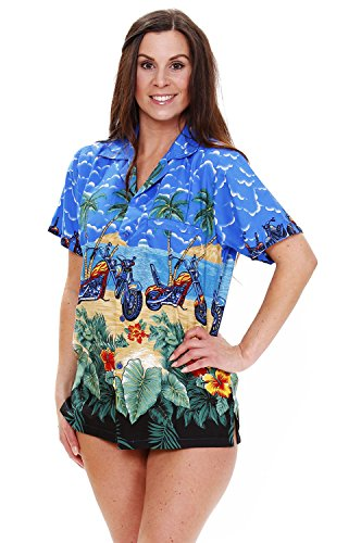 Original-King-Kameha-Funky-Camisa-Hawaiana-Mujeres-XS-6XL-Manga-Corta-Bolsillo-Delantero-impresin-De-Hawaii-Bikes-diferentes-colores