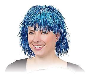 NEW FANCY DRESS METALIC BLUE TINSEL WIG (peluca)
