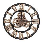 3D Horloge Murale Pendule en Métal Style Vintage Décoration Maison Salon Restaurant Bureau Bar Cuisine Cadeau(30cm-Gold)