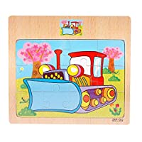 12 Pieces Wooden Puzzle Toy, HUHU833 Jigsaw Puzzle - Cartoon Animal Traffic Learning Puzzle Toys