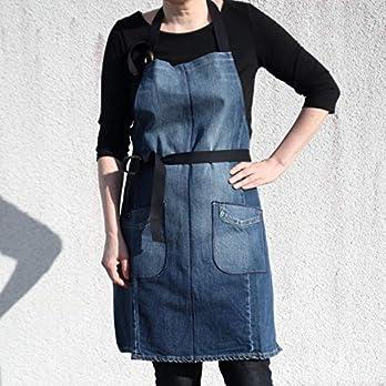 Handgefertigte Jeansschürze aus Recyceltem Jeans, Blau