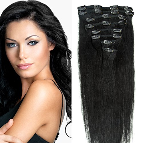 Clip in Extensions Echthaar günstig Haarverlängerung Remy Echthaar 8 Tressen 20 Clips Glatt 35cm-80g #1 Schwarz