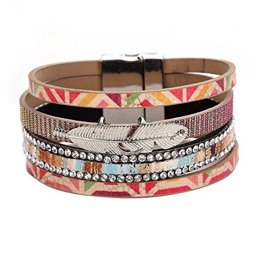 La Cabina Bracelet Bijou Fantaisie Femme et Homme Mode Bracelet de Poignet avec Strass Weave Bangle Feuilles Alliage Multi-coloré et Multilay