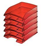 Leitz 52260028 Briefkorb Transparent Plus Briefkorb Transparent Plus, A4, Polystyrol, dunkelrot, 5er Packung