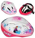 alles-meine.de GmbH Kinderhelm -  Die Eiskönigin - Disney Frozen  - Gr. 52 - 56 - Circa 3 bis 15 Jahre - incl. Name - Größen Verstellbarer / mitwachsender Helm - für Kinder Mäd..
