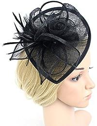 Frcolor tocado de mujer para bodas o fiestas, con plumas negro negro S