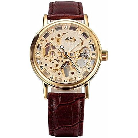 pkaty da uomo orologi unico scheletro cinturino in pelle a mano vento meccanico polso Watch-Brown