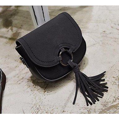 SUNNY KEY-Borsa a tracolla @ Donna Borsa a tracolla PU (Poliuretano) Per tutte le stagioni Casual Cerniera Nero Rosso Marrone , black brown