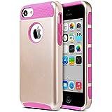 Carcasa iPhone 5c, ULAK Funda doble capa del silicona de alta resistencia del Carcasa de Shell para el iPhone 5c con Protector de pantalla (Oro + rosa)