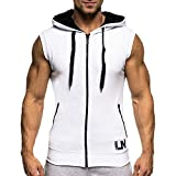 Bold Manner Pull à Capuche Hoodie Pullover T-shirt sans Manches Sweat-shirt Homme Slim Fit Couleur Pure Zippé Tops Jogging Athletic Fitness Blanc FR 46(Tag M)