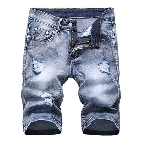 Kurze Jeans Herren Shorts GreatestPAK Retro gerissen Gerade Lokomotive Bermuda 1/2 Kurz Hosen,Hellblau,EU:L(Tag:33) - Herren-jeans-tag