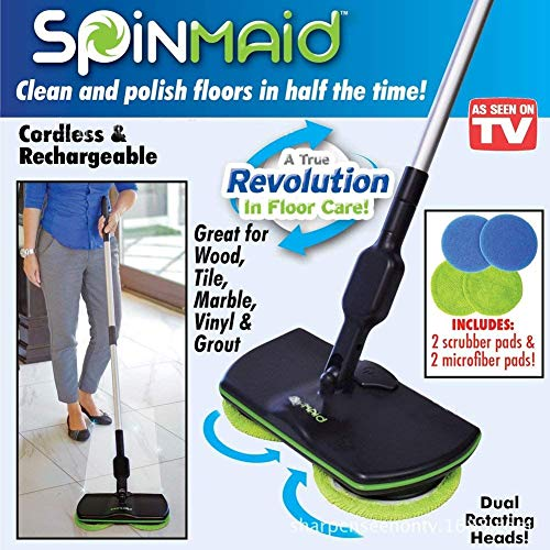 Madprice scopa maid pulisce lucida pavimenti micro fibra cattura 2 teste rotanti wireless