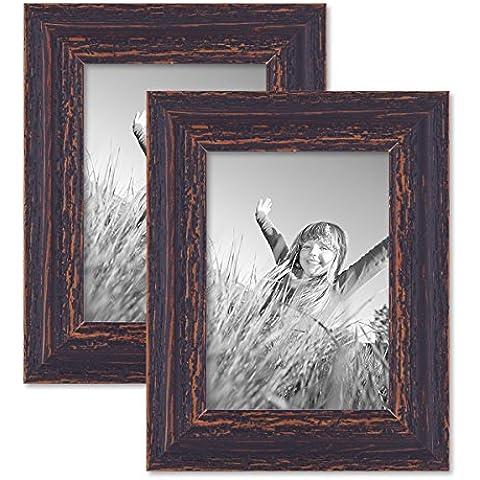 Juego de 2 marcos 13x18 cm madera marrón oscuro, añejo chic de época, madera maciza con cristal y accesorios / marco de fotos / marco