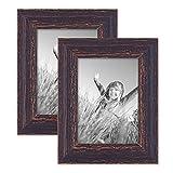 Photolini 2er Set Vintage Bilderrahmen 13x18 cm Holz Dunkelbraun Shabby-Chic Massivholz mit Glasscheibe und Zubehör/Fotorahmen/Nostalgierahmen
