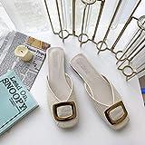 Swertuy Sexy Zapatillas de Media Cabeza Cuadrada Ropa de Verano Femenina 2019 Nueva versión Coreana del Piso Salvaje con Estudiantes Hebilla Lazy Cool Sandals Mules Zapatos 39 Beige