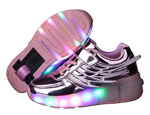 Fortuning's JDS® Unisex Einzelrad LED blinkende Riemenscheibe beschuht Flügel Art PU leuchtende Turnschuhe