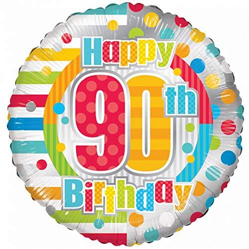enballon Geburtstag - Happy 90 th Birthday Ø 45 cm + 2 Gratis Luftballons Ø 30 cm (Ohne Heliumfüllung) ()