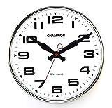 Bold Champion lancetta secondi Classic Orologio al Quarzo da Parete con lente in vetro curvato, argento, L